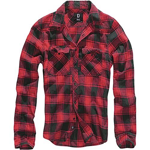 Brandit Camicia Check Uomo Flanella Camicia - Red-Black, XXL