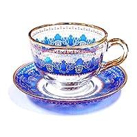 トルコグラス カップ&ソーサー CS-245 花束/ブルー(1客)