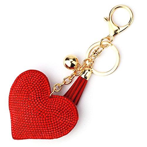 ODN Künstlich Strass Herz Keychain Schlüsselanhänger Schöne Quaste Fahrzeugschlüssel Handtaschenanhänger Taschenanhänger (Rot)