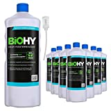 BiOHY Limpiacristales profesional (9 botellas de 1 litro) + Dosificador   Limpiador concentrado de vidrios, para de ventanas   Limpieza optima de vidrios, ventanas y espejos (Profi Fensterreiniger)