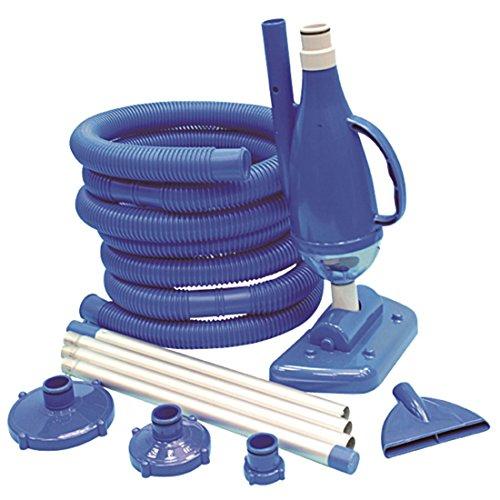 Jilong VS Deluxe Zwembadreinigingsset met vacuüm-stofzuiger incl. 2 opzetstukken (borstel + plat) + vuilopvangbak, aluminium zwembadstang en zwembadslang incl. aansluitadapter voor zwembadpomp