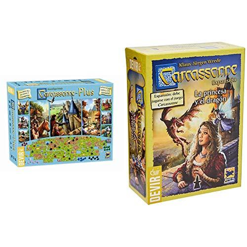 Devir BGCARPLUS3 Carcasonne Plus, Juego básico + 11 expansiones, Edad recomandada 7 años y más + La Princesa y El Dragón, Juego de Mesa (Bgcarpri)