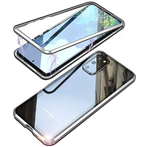 """Coque Samsung Galaxy S20 Plus/S20+ 6,7"""", Intégrale de Protection Arrière Verre Trempé Transparent Case Cover,d'adsorption Magnétique Bumper Métal 360 Degrés Antichoc de Protection Etui Housse,Noir"""
