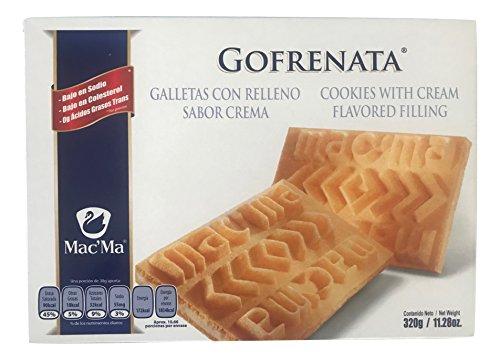 Mac'ma Gofrenata Cookies with Cream Flavored Filing, Mexican Cookies, Galletas con Relleno Sabor Crema Box of 11.28 oz