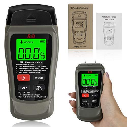 Jooheli - Detector de humedad con pantalla LCD para la industria de madera, papel y materiales de construcción, medidor de humedad con batería y manual
