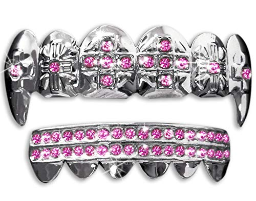 Big Dawgs Bling Hip Hop Silver Vampire Fangs Teeth Mouth Grillz Set (Pink Stones)