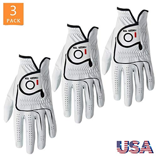 FINGER TEN Men's Golf Gloves Left Hand Right Value 3 Pack, Cabretta Leather Grip Fit Cadet Size Small Medium Large XL XXL (Large, Left)