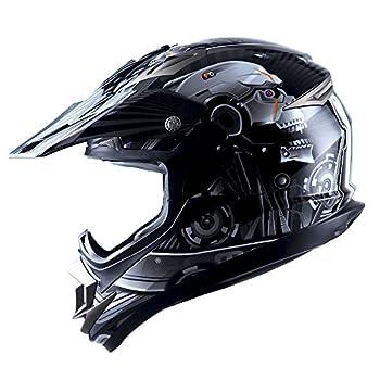 Adult Motocross Helmet Off Road MX BMX ATV Dirt Bike Mechanic Skull Black