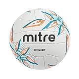 Mitre Ultragrip Ballon de Netball de Match Mixte Adulte, Blanc/Cyan/Orange, Taille 5