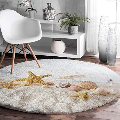 Shag Area Rug, 5ft Indoor Round Area Rugs- The Scenery of Sandy Beach Starfish Shaggy Carpet Nursery Rug for Kids Baby Bedroom Living Room Home Decor