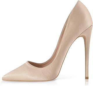 High Heels Womens Pointed Toe Heels Satin Pumps Stiletto...