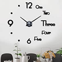 Large Frameless DIY Wall Clock 3D Mute Round Shape Quartz Wall Clock Sticker DIY Wall Decoration for Home Living Room Bedr...