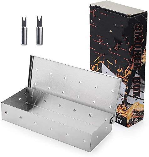 Geggur Edelstahl Grill Box Rauchen Box Obst Holzbox Kohle Selbstbedienung Grill Unterstützung Zigarettenschachtel,A
