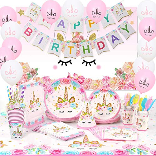 Unicorn Birthday Party Decorations 183 pcs with Unicorn Photography Background! Serves 16! Unicorn Party Supplies for Girls, Includes Disposable Tableware Kit Unicorn Balloons
