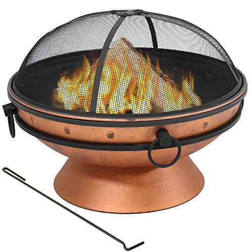 Sunnydaze Large Copper Finish Outdoor Fire Pit...