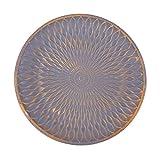 Flanacom Deko Tablett Dekoschale aus Holz - Design Holzschale Rund mit Verzierungen - Moderne Tischdekoration für die Wohnung - Tischdeko für Wohnzimmer oder Flur - Wohnaccessoires (Rund Grau)