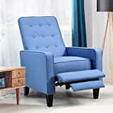 Kealive Recliner Chair with Overstuffed Back Push Back Reclining Chair Thickness Cushion and Fabric Comfortable Single Recliner Mid Century Modern Sofa Chair for Home, Living Room, Dark Blue