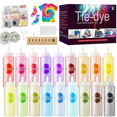 URBZUE Tie Dye Kit, 18 Farben 210 PCS Textilfarben Set Farbstoff mit Gummibänder Handschuhe, ungiftige Stofffarben Set für Kunsthandwerk Aktivität, Batikfarben DIY-Projekt für Kinder & Erwachsene