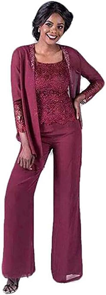 Women's 3 Pieces Elegant Lace Mother of The Bride Pant Suits Evening Gowns