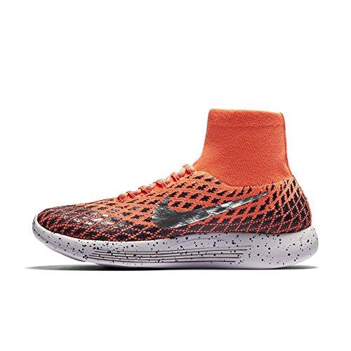 Nike Women's Lunarepic Flyknit Shield Running Shoe (6, Bright Mango/Metallic Silver)