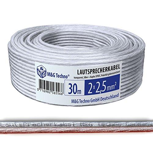 M&G Techno 30m Lautsprecherkabel (Single-Wire) 2x2,5mm² SPOFC, Silber + Kupfer rund Transparent, mit Metermarkierung