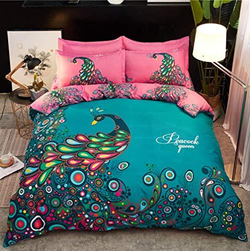 UMOOIN Peacock Bedding Set 4 Piece, 3D Peacock Printing Duvet Cover Set And 2 Pillowcase 1 Sheet