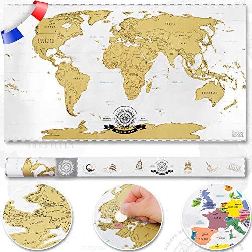 Scratch off World Map - Planisfero da grattare, in francese, misura: XXL