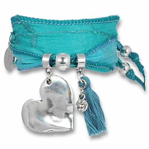 Anisch De La Cara - Donne Braccialetto - Light Blue - Magic Love Heart Bracciale Realizzato In Sari Indiani - Articolo N 2250-C