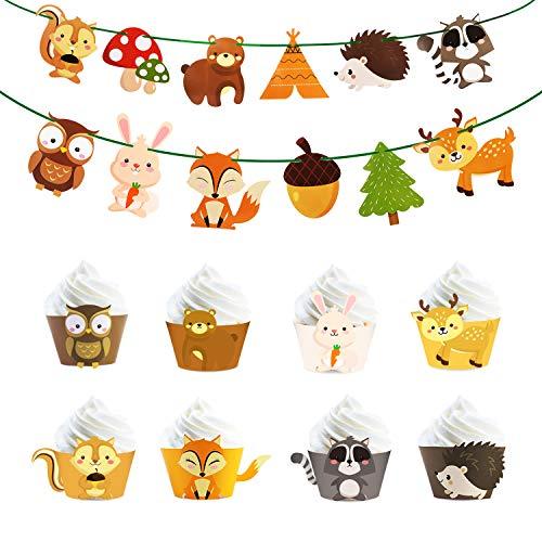 Phogary 36 Stück Waldland Kreaturen Partei Vorräte, Waldland Tier DIY Baby Dusche, Waldland Tier Girlande (12 Ausschnitte) und Muffins Dessert Dekoration (24 Stück) für Waldland Tier Thema Partei
