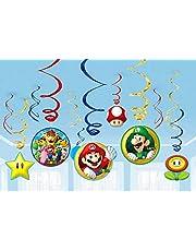 amscan 671554 Nintendo färgglada virveldekorationer med Super Mario Theme-12 st