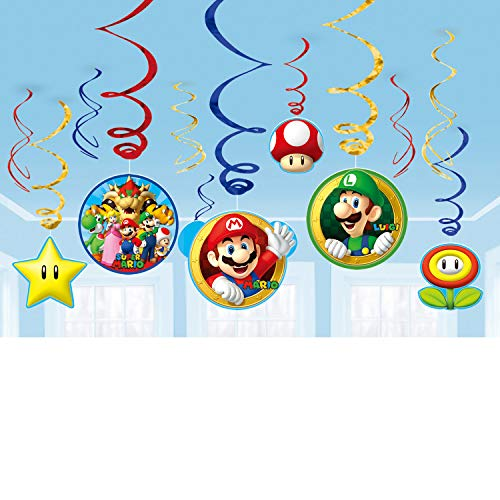 amscan 671554 Nintendo Colorful Swirl Decorations with Super Mario Theme-12 Pcs