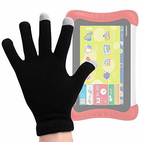 DURAGADGET Guantes Negros para Pantalla Táctil para Tablet para niños Clementoni - Mi Primera Clempad Dual Core (55001) - Talla Mediana - ¡Ideales para El Invierno