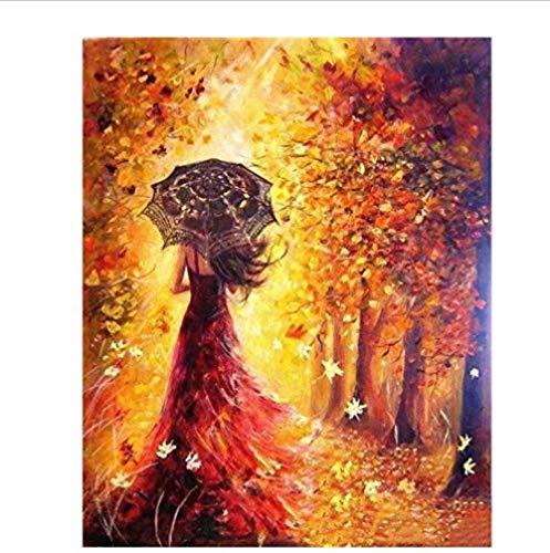 ABUKJM schilderen op nummer, mooie vrouwenval, voor volwassenen, doe-het-zelf, 40 x 50 cm, ingelijst Framed Fgyd6371