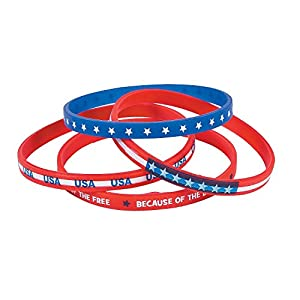Fun Express Patriotic Thin Silicone Bands for Fourth of July – Rubber Bracelets – 24 Pieces