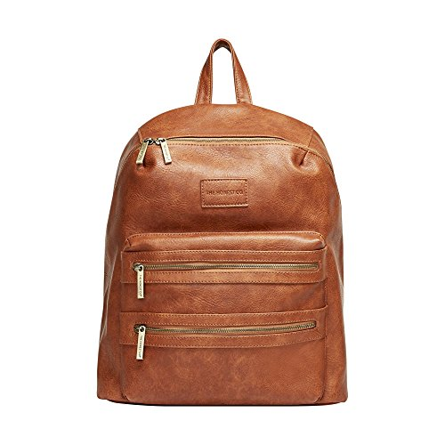 The Honest Company City Backpack, Cognac | Sturdy Vegan Leather Backpack | Diaper Bag | Changing Pad with Zippered Pocket | Unisex Backpack | Stylish & Functional