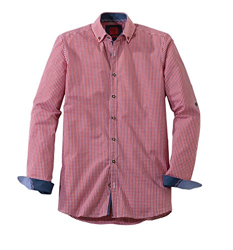 OLYMP Hemd Trachtenhemd Level 5 Body Fit rot/Weiss, Größe XL