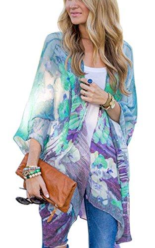 Fanala Women's Beachwear Cover-ups Tunic Chiffon Geometry Print Kimono Cardigan