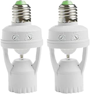 2 Pieces 360° Cone Angle E27 Infrared PIR Motion Sensor LED Light Lamp Bulb Holder Socket Switch, 110-240V