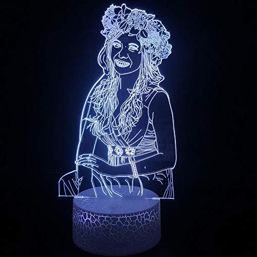 3D kinderen nachtlampje slinger meisjes LED illusie licht sfeerlicht 7 kleuren touch afstandsbediening USB tafellamp bedlampje voor kinderen Kerstmis verjaardagscadeau