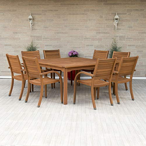Amazonia Arizona 9 Piece Square Outdoor Dining Set |Super quality Eucalyptus Wood| Durable and ideal for patio and backyard, Light Brown