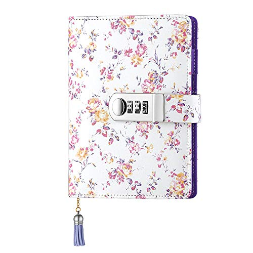 JunShop Floral Password With Lock Diary PU Leather Multi Color Combination Lock Journal (Combination Lock Diary) A6 Refillable Leather Journal/Size:18.5X13.5 CM (Purple)