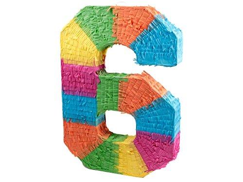 Alsino Pinata | en Forme du Chiffre 6 | en Papier Mâché | Multicolore | Décoration | Jeu | Anniversaire, 62/0966 Pinata-Chiffre 6