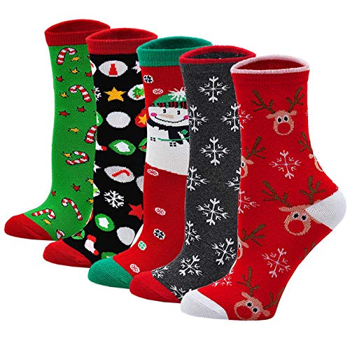 LOFIR Bunte Lustige Socken Damen Weihnachtssocken Tiermuster Cartoon Strümpfe aus Baumwolle Mädchen Weihnachtenstrümpfe Größe 35-41, 5 Paare