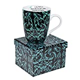 Divinity Boutique Inspirational Ceramic Mug, Damask, Ecclesiastes 2:26, Blue on Black, Multicolor by Divinity Boutique