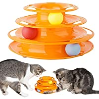 Three levels of fun that challenges both the playability and intelligence of the anima The activity toy for cats is ideal when you are on the go. It is the best boredom remedy and motivates your cat to play with the cat tower The play tower comes wit...