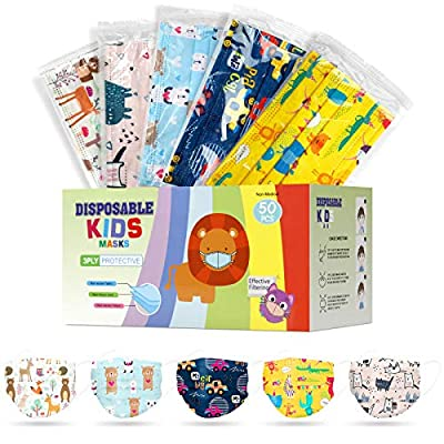 Kids Face Mask Disposable Protection,Children Mask for 50 Individually Wrapped
