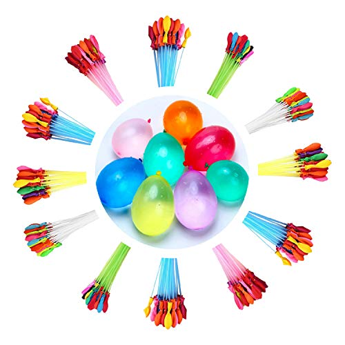 KEXMY Water Balloons for Kids Girls Boys Balloons Set Party Games Quick Fill 444 Balloons 12 Bunch of 37 Balloons for Swimming Pool Outdoor Summer Fun