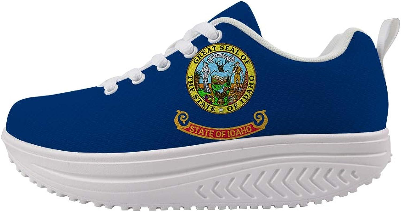 Owaheson Swing Platform Toning Fitness Casual Walking shoes Wedge Sneaker Women Gem State Idaho Flag