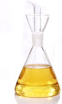 ELETON Olive Oil Dispenser Oil Bottle Glass with No Drip Bottle Spout - Oil Pourer Dispensing Bottles for Kitchen -Glass Dispenser to Control Cooking Vegetable Oil and Vinegar (350 mL)