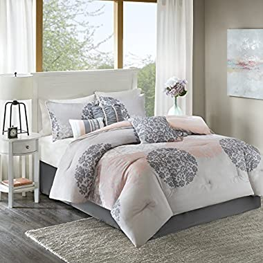 Home Essence Lightweight Queen Comforter Set - Springfield 7 Pieces All Season Comforter Goose Down Alternative Fill - Brown and Coral - Includes, 2 Shams, Bedskirt and Pillows By